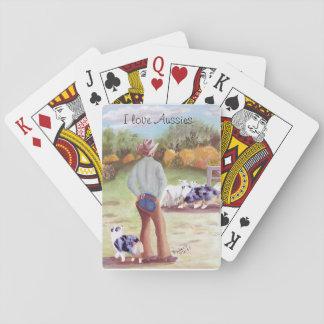 "Australian Shepherd ""Training Day"" Painting Poker Cards"