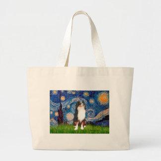Australian Shepherd (Tri2) - Starry Night Large Tote Bag
