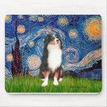 Australian Shepherd (Tri2) - Starry Night Mouse Pad