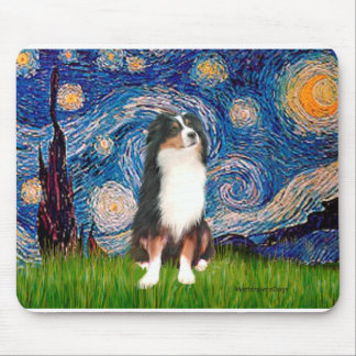 Australian Shepherd (Tri2) - Starry Night Mouse Pad