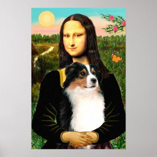 Australian Shepherd (tri) & Mona Lisa Poster