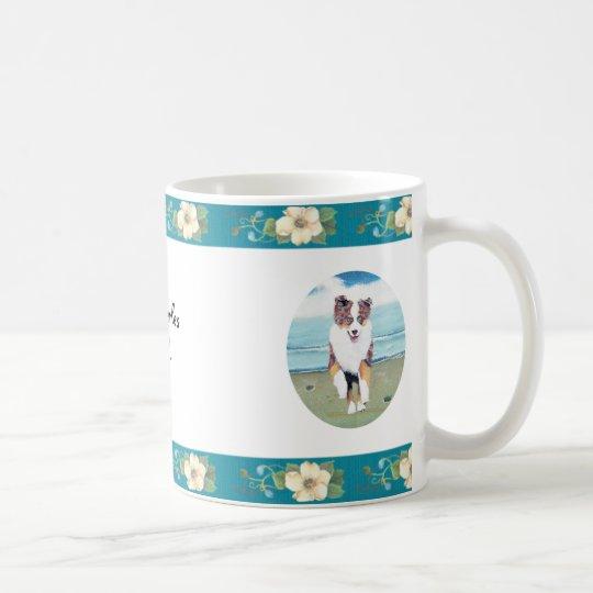 Australian Shepherd ~ Turquoise Floral Design Coffee Mug