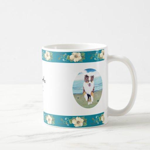 Australian Shepherd ~ Turquoise Floral Design Mug