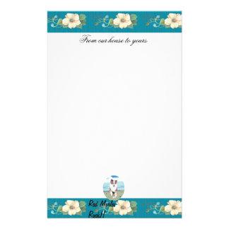 Australian Shepherd ~ Turquoise Floral Design Stationery