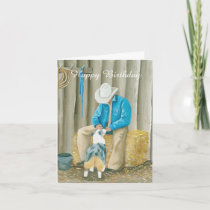 Australian Shepherd Western Art Birthday Note Card