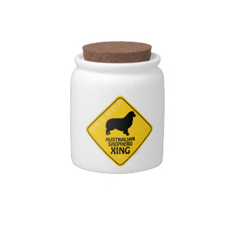 Australian Shepherd Xing Candy Jar