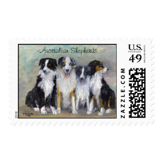 Australian Shepherds - Pirate and daughters Postage