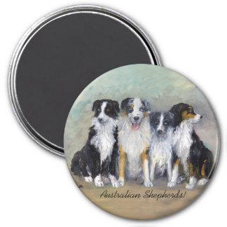 Australian Shepherds - Pirate & Daughters 3 Inch Round Magnet