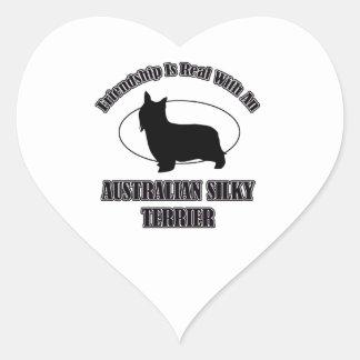 AUSTRALIAN SILKY TERRIER DOG DESIGNS HEART STICKER