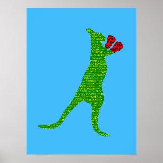 Australian Slang Boxing Kangaroo Poster