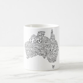 Australian slang map coffee mug