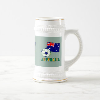 Australian Soccer Ball and Flag 1 Beer Stein