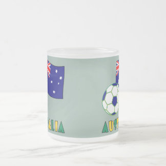 Australian Soccer Ball and Flag 1 Frosted Glass Coffee Mug