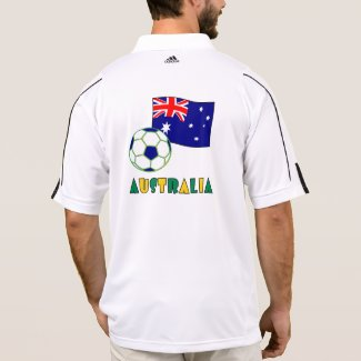 Australian Soccer Ball and Flag 1 Polo Shirt