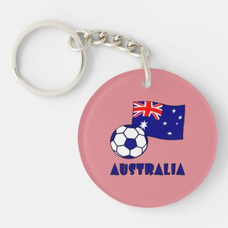 Australian Soccer Ball and Flag 2 Keychain