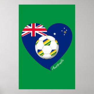 """Australian Soccer Heart. Fútbol de """"AUSTRALIA"""" Posters"""