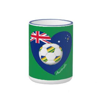 """Australian Soccer Heart. Fútbol de """"AUSTRALIA"""" Taza De Dos Colores"""