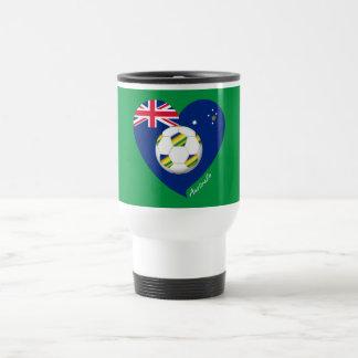 """Australian Soccer Heart. Fútbol de """"AUSTRALIA"""" Taza De Viaje"""