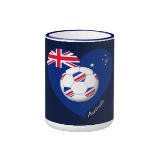 """Australian Soccer Team. Fútbol de """"AUSTRALIA"""" Taza De Dos Colores"""