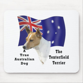 Australian Tenterfield Terrier Tan white with Flag Mouse Mat