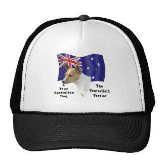 Australian Tenterfield Terrier Tan/white with Flag Trucker Hat