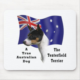 Australian Tenterfield Terrier tricolour with Flag Mouse Pads
