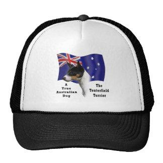 Australian Tenterfield Terrier tricolour with Flag Trucker Hat