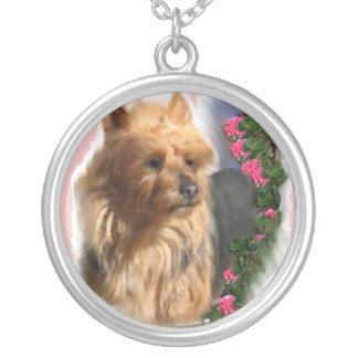 Australian Terrier Art Silver Plated Necklace