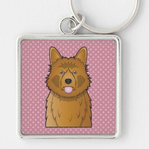 Australian Terrier Cartoon Keychain