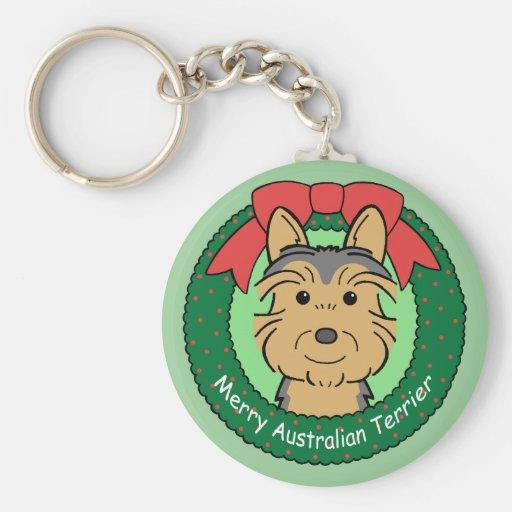 Australian Terrier Christmas Keychains