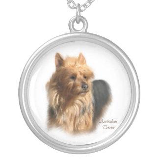 Australian Terrier Dog Art Silver Plated Necklace