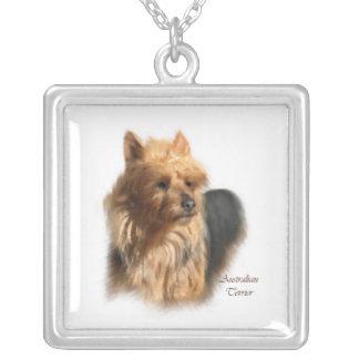 Australian Terrier Fine Art Square Pendant Necklace