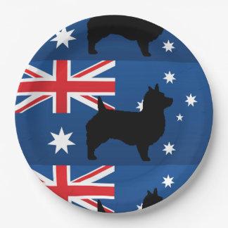 australian terrier silhouette australia flag.png paper plate