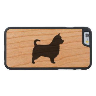 Australian Terrier Silhouette, Long Tail Carved Cherry iPhone 6 Slim Case