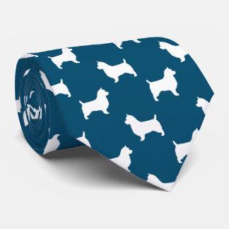 Australian Terrier Silhouettes Pattern Blue Neck Tie