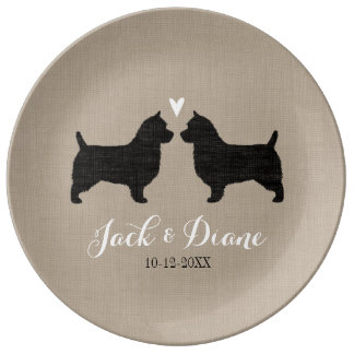 Australian Terrier Silhouettes with Heart Dinner Plate