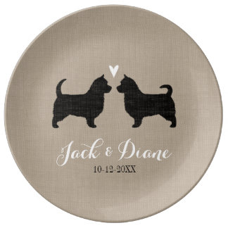 Australian Terriers (Long Tails) with Heart Dinner Plate