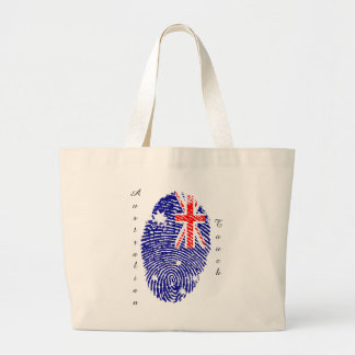 Australian touch fingerprint flag large tote bag