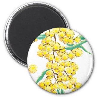 Australian wattle 2 inch round magnet