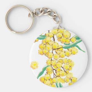 Australian wattle basic round button keychain