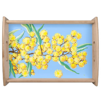 Australian wattle blossoms serving tray