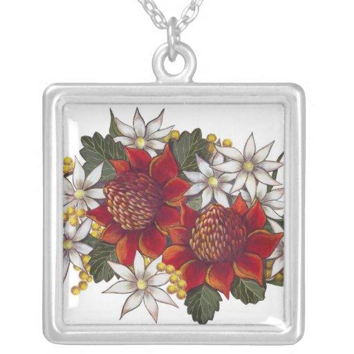 Australian Wild Flowers Waratha and Flannel Flower Personalized Necklace