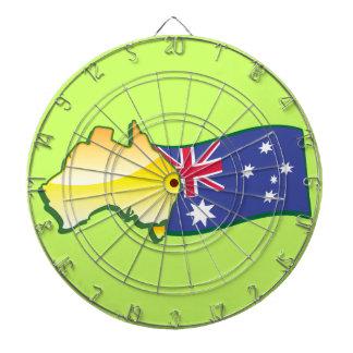 Australiano australiano de la bandera y del mapa tablero dardos