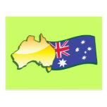 Australiano australiano de la bandera y del mapa postal