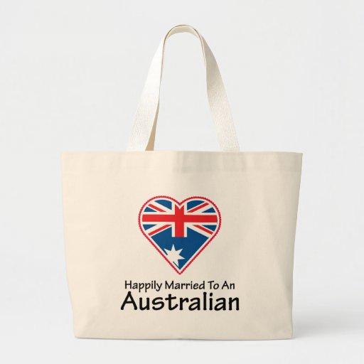 Australiano feliz casado bolsa tela grande