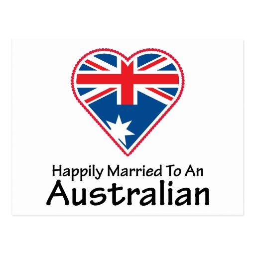 Australiano feliz casado tarjetas postales