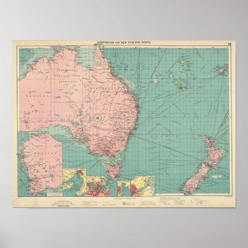 Australiano, puertos de Nueva Zelanda Impresiones