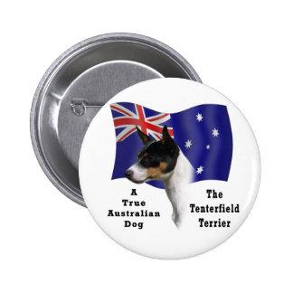 Australiano Tenterfield Terrier tricolor con la ba Pin Redondo 5 Cm
