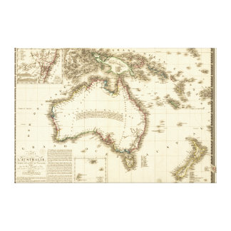 AustraliaPanoramic MapAustralia 2 Lona Estirada Galerías