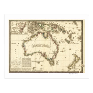 AustraliaPanoramic MapAustralia 2 Tarjetas Postales